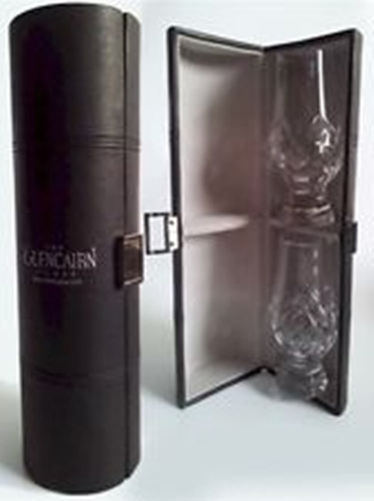 Glencairn The Black Stitched Caddy with 2 Cut Crystal Glasses