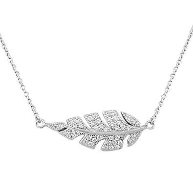 Amazon 925 sterling silver white cz womens sideways feather 925 sterling silver white cz womens sideways feather leaf pendant necklace aloadofball Image collections