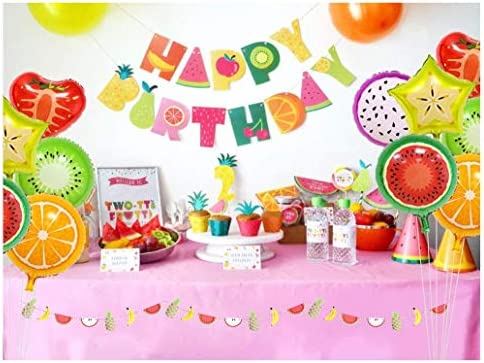Party Decorations Fruit Happy Birthday Banner Fruit Balloons