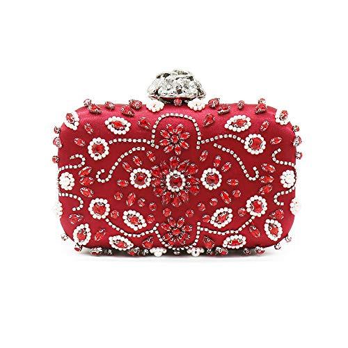 Pochette Étincelant Lovely Cristal de à pour Mini Strass Dames Rouge Sac Main soirée Mariage rabbit Sac Rr54rqxn8