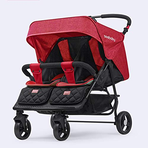 Double Stroller Portable Baby Stroller Contours Curve Tandem Double Stroller, Toddlers Or Twins – 360° Turning, Multiple Seating Options,Red