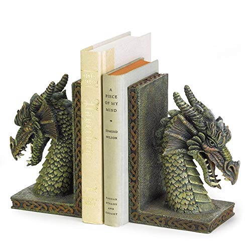 Weelongha 2 Medieval Celtic Game Dragon Statue Castle Throne BOOKENDS Book End Ends Vintage Set Sculpture Head Statues Pair Bookend Desk Accessories