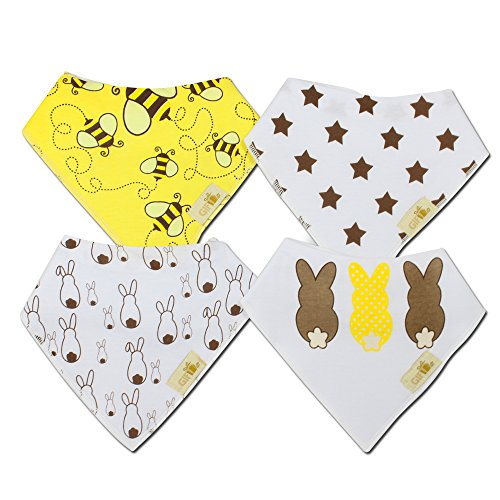 Baby bandana drool bib by Gift it! organic cotton super absorbant bumblebee bunny bibs for drooling or teething babies. 4 pack trendy designs. Great baby shower gift for boys and girls.