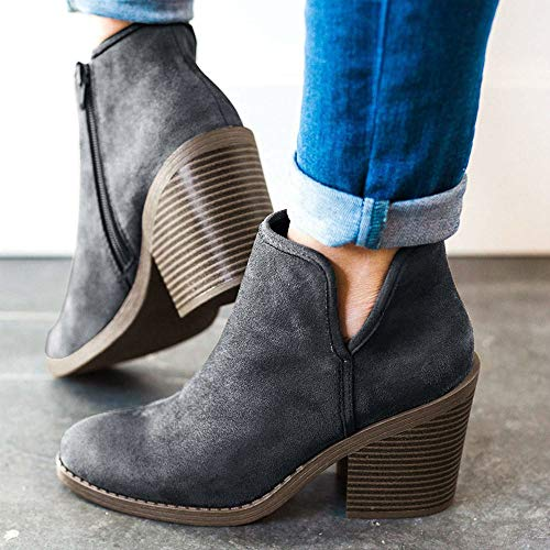 Chunky Block Booties Heel Cut Side Toe Perse High Zipper Boots Pointed Womens Ankle V RUYwnREx