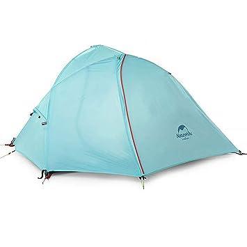 Naturehike camping tienda de campaña doble capa 3 temporada senderismo Picnic impermeable y a prueba de viento tienda de campaña para 1/2 persona: ...