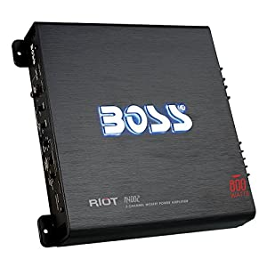 BOSS Audio R4002 - Riot 800 Watt, 2 Channel, 2/4 Ohm Stable Class A/B, Full Range, Bridgeable, MOSFET Car Amplifier with Remote Subwoofer Control