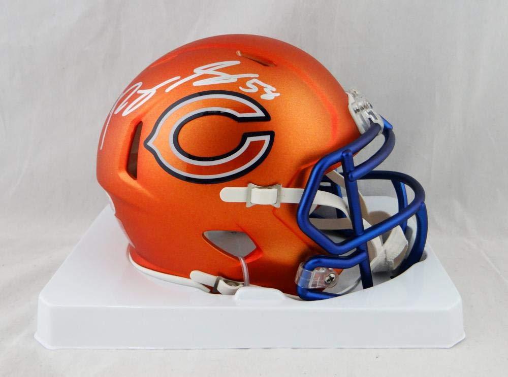 Roquan Smith Autographed Chicago Bears Orange Blaze Mini Helmet Beckett Auth Silver