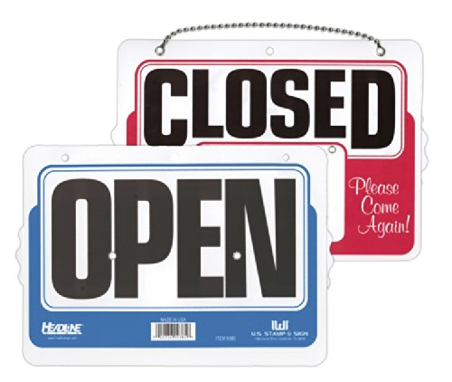 Headline Sign Double-Sided Open/Closed 8 Inches by 11 Inches Sign with Dial-A-Time Will Return Feature (9385) supplier