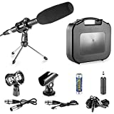 Neewer Professional DSLR Microphone Kit for Canon EOS DSLR 5D Mark II III 6D 7D 7D , NIKON D7100 D7000 D5200 Cameras, Aluminum Alloy Condenser Microphone with Accessories - Black