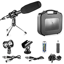 Neewer® Professional DSLR Microphone Kit for Canon EOS DSLR 5D Mark II III 6D 7D 7D , NIKON D7100 D7000 D5200 Cameras, Aluminum Alloy Condenser Microphone with Accessories - Black