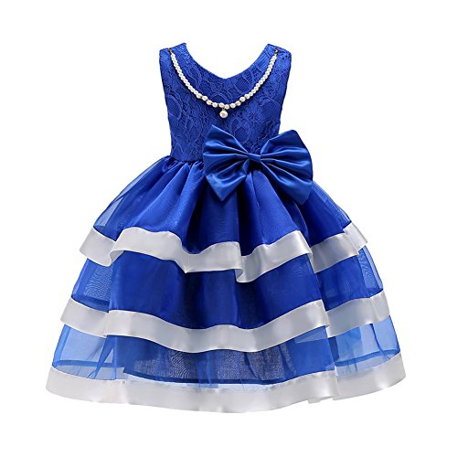 Beautiful Baby Lace Skirt (JiaDuo Baby Girls Ruffles Lace Dress for Party Wedding Bow ZT2331 Blue 130)