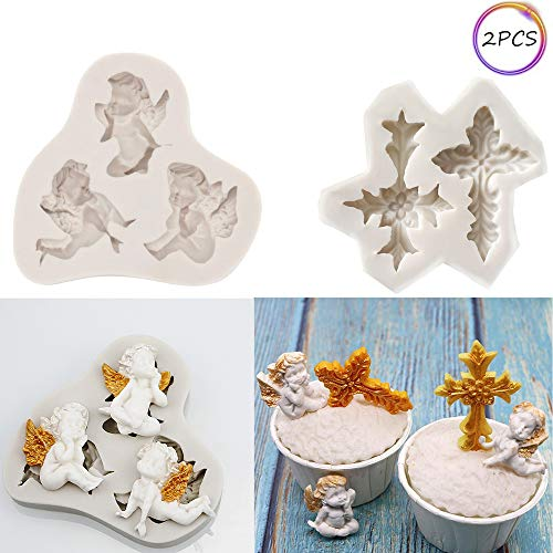 Angel Cross Baby Silicone Fondant Mold Cake Decorating Tools Chocolate Polymer Clay Mould Cupcake Topper Decoration ()