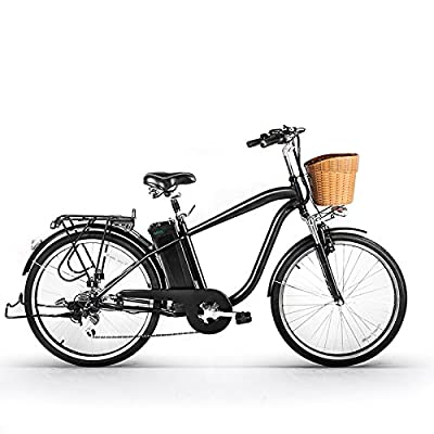 """Nakto 26"""" 250W Cargo-Electric Bicycle 6 speed e-Bike 36V Lithium Battery Aadult/Young Adult-Men"""