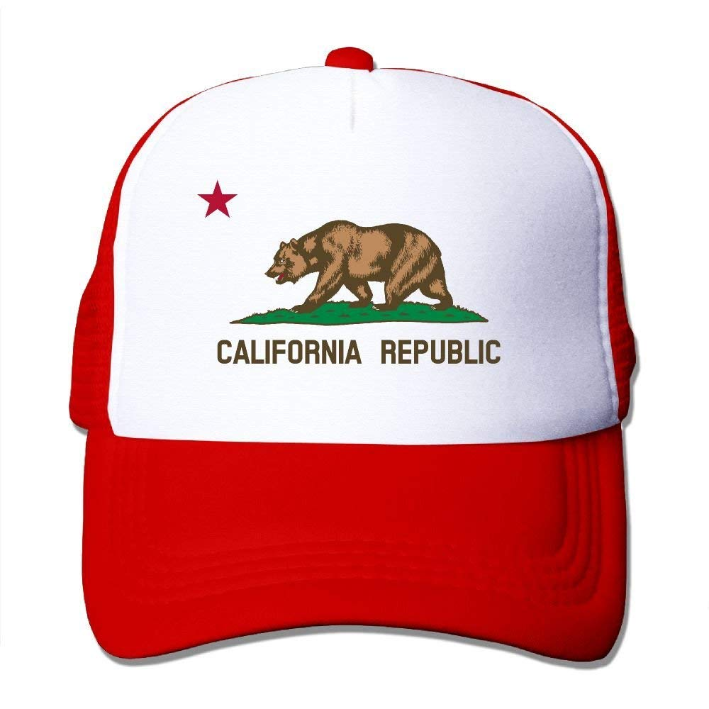 BUZRL Personality Caps HatsUnisex California State Flag Mesh Cap Adjustable Snapback Baseball Cap Adult Trucker Hats For Men's