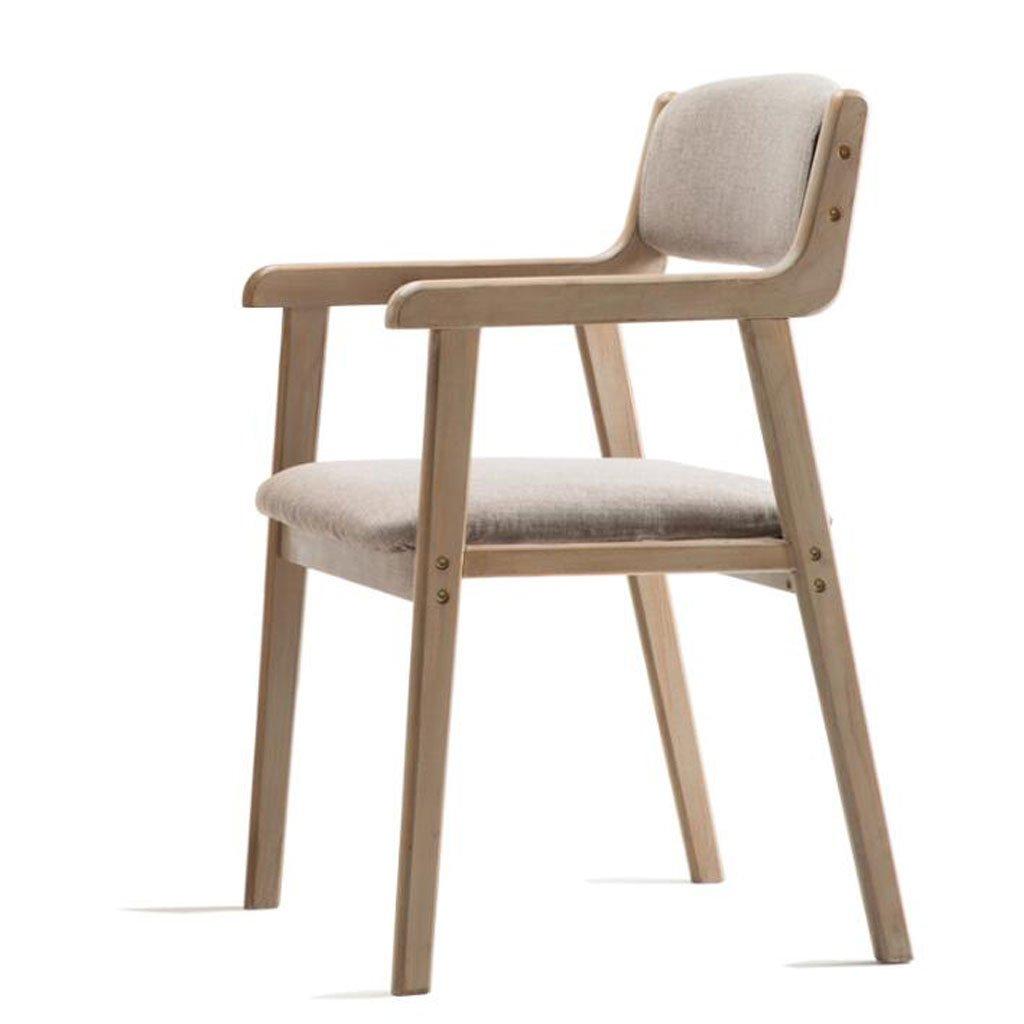 HXF – modern enkel vintage matstol massiv trästol restaurang armstöd vardaglig fåtölj vuxen dator skrivbord stol hållbar (färg: D) b