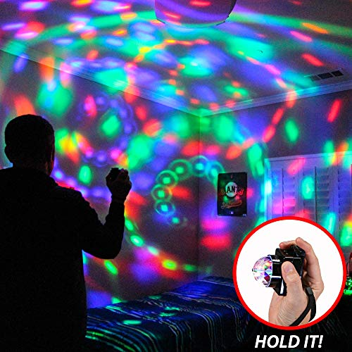 PartyStar Portable LED Party Light for Indoor and Outdoor Fun, Battery-Powered Hand-Held Multi-Color RGB Rotating Disco Ball Light Show for House Parties Dancing Birthdays Concerts DJ Holidays