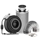 VIVOSUN Air Filtration Kit: 8 Inch 740 CFM Inline Fan with Speed Controller, 8 Inch Carbon Filter and 25 Feet of Ducting Combo
