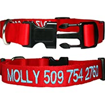 Personalized Nylon Dog Collar, Custom Embroidered with Pet Name & Phone Number. 4 Adjustable Sizes in XSmall, Small, Medium, & Large. Male or Female Dogs. Great alternative to Pet Tags.