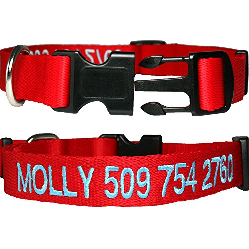 Personalized Nylon Dog Collar, Custom Embroidered with Pet Name & Phone Number. 4 Adjustable Sizes in XSmall, Small, Medium, Large. Male or Female Dogs. Great alternative to Pet ()