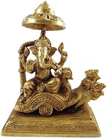 従来の宗教彫刻ガネーシャ神on Chariot真鍮メタルFigurine