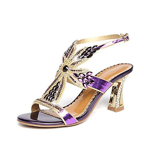 De Toe Et Sexy Élégant Open Cheval Sandale Mi Strass Toe Chaussure Et Talon Élégant Purple Cristal 40 Sexy 5Ax6tq