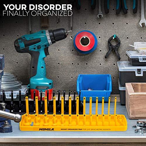 Socket Organizer Trays - 6 Piece Socket Tray Set Black SAE & Yellow Metric | 1/4-Inch, 3/8-Inch & 1/2-Inch Drive Socket Holder | Premium Quality Tool Organizers by Momila (Image #5)