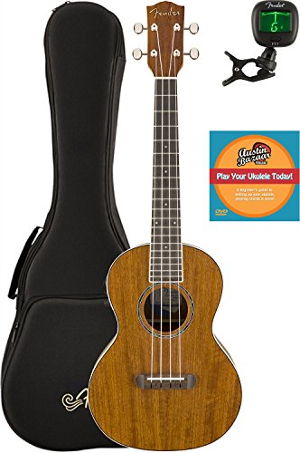 Fender Rincon Acoustic-Electric Tenor Ukulele Bundle with Gig Bag, Tuner, and Austin Bazaar Instructional DVD by Fender