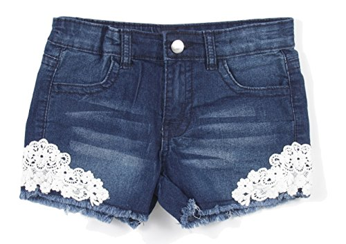 Girls' Stretch 4 Pockets Denim Jeans Shorts with Lace in Dark Blue Size 8 (Lace Stretch Jeans)