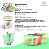 5 Quality Reusable Food Silicone Bags & Bag Holder Ebook Pamphlet Stasher Freezer Microwave Dishwasher Safe Versatile Kitchen Cooking Ziplock Container Snack Lunch Sandwich Preservation Storage