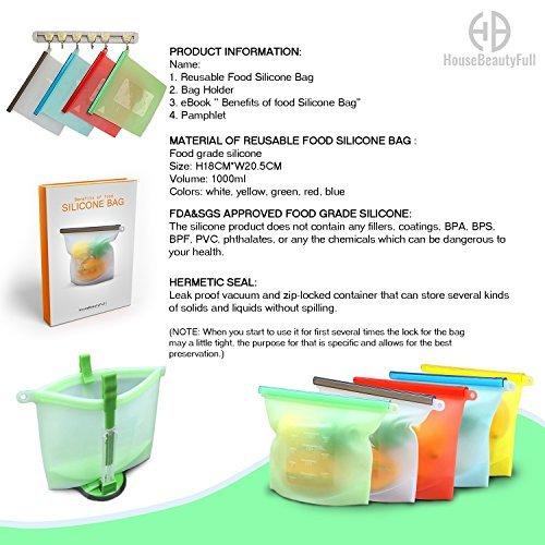 5 Quality Reusable Food Silicone Bags & Bag Holder Ebook Pamphlet Stasher Freezer Microwave Dishwasher Safe Versatile Kitchen Cooking Ziplock Container Snack Lunch Sandwich Preservation Storage (Dishwasher Freezer Safe)