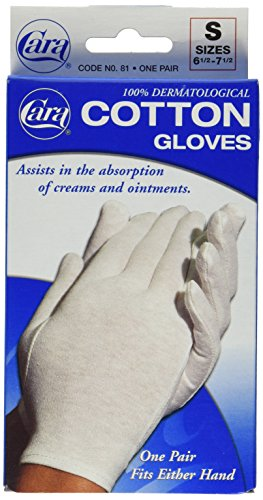 Dermatological Cotton Gloves - Dermatological Cotton Gloves-Ladies, Small, Cara 81-4 Pairs