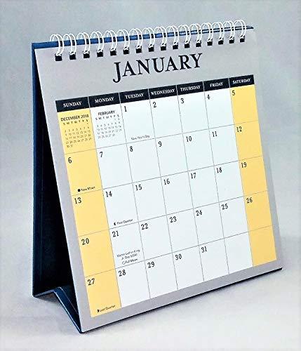 2019 Standing Desk Calendar Jan - Dec Monthly (Blue/Yellow/Gray)