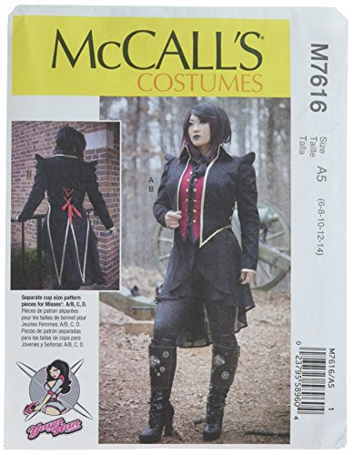 McCall's Patterns M7616A50 Vest and Jacket Gothic Cosplay Costume Sewing Pattern for Women by Yaya Han, Sizes 6-14 ()