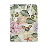 Floral Pattern With Flowers And Butterfly Leather Passport Holder Cover Case Protector for Men Women Travel with Slots