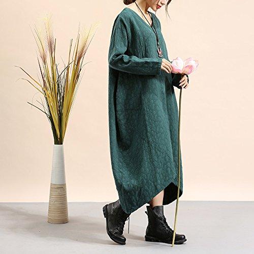 Honghu Suelta Cuello Redondo de Manga Larga Vestido para Mujer One Size Verde