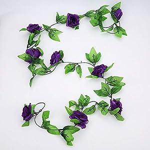 2.4m/7.8ft Artificial Silk Rose Flower Wisteria Vine Rattan Hanging Flower Garland Wedding Party Home Garden Decoration,L 79