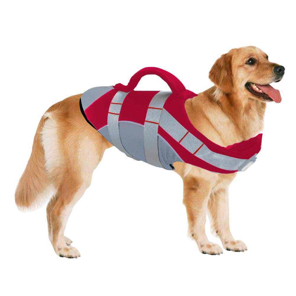 SUNFURA Pet Life Jackets, Summer Dog Float Coat with Reflective Strips and Rescue Handle, Adjustable Ripstop Pet Life Vest for Small, Medium, Large Dogs(Red,S)