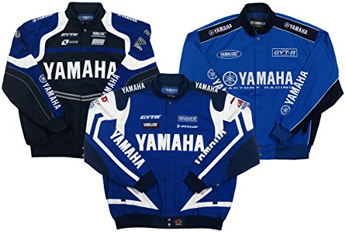 (Yamaha Racing Mens Cotton Twill Embroidered Jackets in 3 Great Styles (3X, Royal Blue - White))