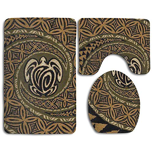 Bath Mat,Hawaiian Tapa Honu Turtle Deluxe Bathroom Carpet Rug,Non-Slip 3 Piece Bathroom Mat ()