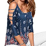 On Sale Clearance! Women Cold Shoulder Blouse Tops Cuekondy Summer Casual 3/4 Sleeve Floral Print T-Shirt (Blue, 3XL)