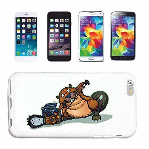 """cas de téléphone iPhone 6+ Plus """"BIEBER TRAVAILLE AVEC Tronçonneuse RODENT BEAVER DAMS Biberbau"""" Hard Case Cover Téléphone Covers Smart Cover pour Apple iPhone en blanc"""