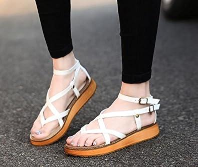 YFF Gladiator Sandalen für Frauen Kreuz - gebunden Kleinigkeit Wohnungen Casual Schuhe Frauen Schuhe, Weiß, 10.