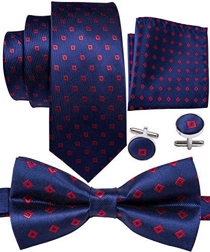 Barry.Wang Men Tie Bowtie Set with Handkerchief Cufflinks Silk Blue Dot Necktie