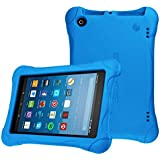 Fintie Shock Proof Case for All-New Amazon Fire HD 8 Tablet (7th and 8th Generation Tablets, 2017 and 2018 Releases) - Ultra Light Weight Protective Kids Friendly Cover, Blue