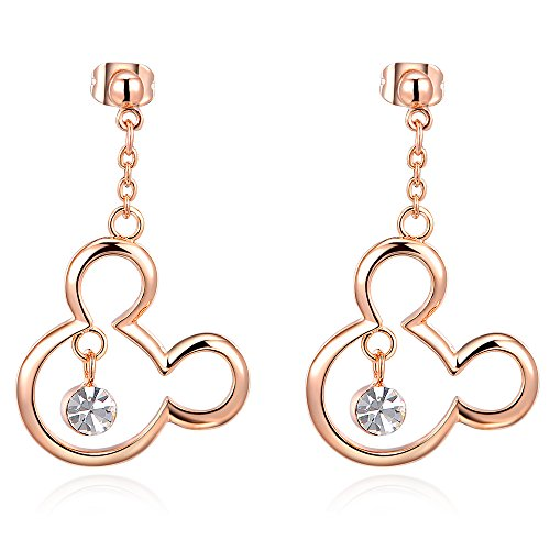 Mall of Style Mickey Mouse Earrings Women/Girls - Rose Gold Plated (Rose Gold - Disney Dangle