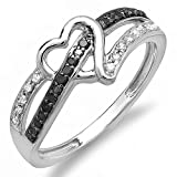 0.20 Carat (ctw) 10k White Gold Round Black and White Diamond Ladies Promise Heart Love Engagement Ring 1/5 CT (Size 7.5)