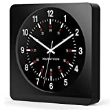 """Marathon CL030057BK-BK1 Analog Jumbo Wall Clock with Auto-Night Light. """"The Silent Second Hand Sweep Movement From Designer Collection."""" Commercial Grade (Black)"""