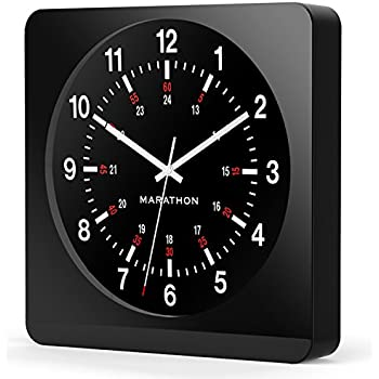 "Marathon CL030057BK-BK1 Analog Jumbo Wall Clock with Auto-Night Light. ""The Silent Second Hand Sweep Movement From Designer Collection."