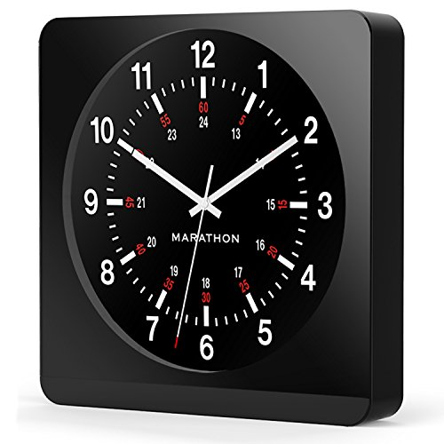 "Collection Analog (Marathon CL030057BK-BK1 Analog Jumbo Wall Clock with Auto-Night Light. ""The Silent Second Hand Sweep Movement From Designer Collection."" (Black))"