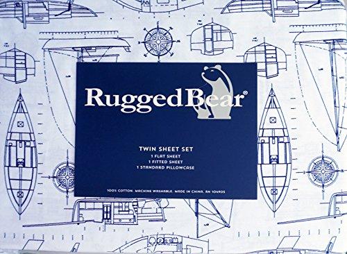 Set Sheet Nautical - Rugged Bear 3 Piece Twin Size Sheet Set Navy Blue Yachts Boats Ships Nautical Plans Design on White